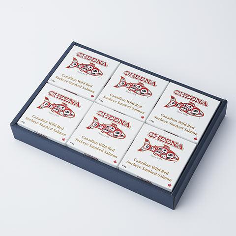 カナダ発 チーナ 天然紅鮭のスモーク缶 6個セット
