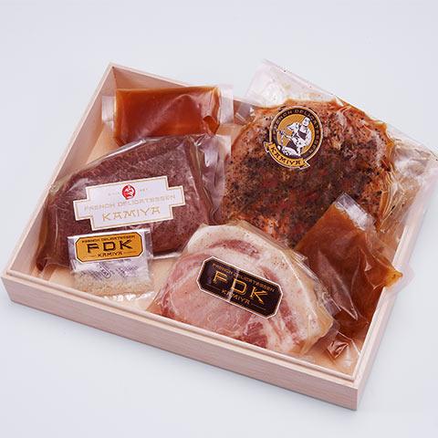 フレンチデリカテッセン カミヤ 熟成肉3種 ステーキセット