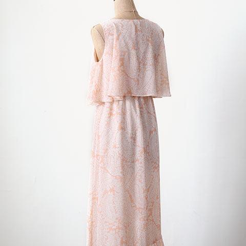 ソフィエのオリジナル授乳服 マキシ丈ワンピース オレンジペイズリー