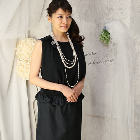 ソフィエのオリジナル授乳服 胸元シフォンIラインワンピース ブラック