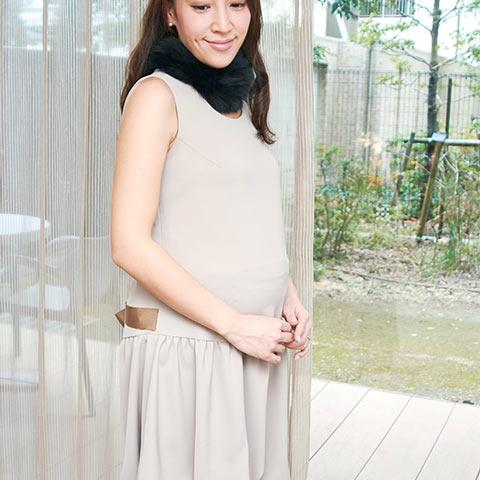 ソフィエのオリジナル授乳服 バルーンワンピース ベージュ