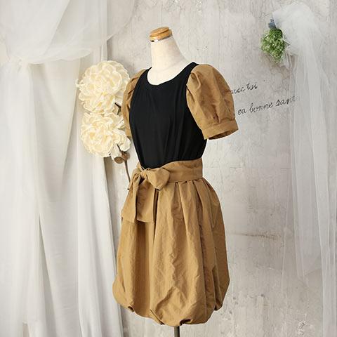 ソフィエのオリジナル授乳服 袖付バルーンワンピース ベージュ