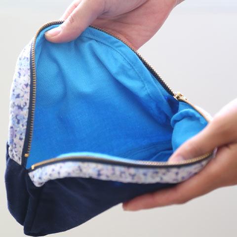 ソフィエのオリジナル 授乳ケープ (収納用ポーチ付き) ネイビー×ブルー