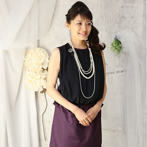 ソフィエのオリジナル授乳服 胸元シフォンIラインワンピース ボルドー