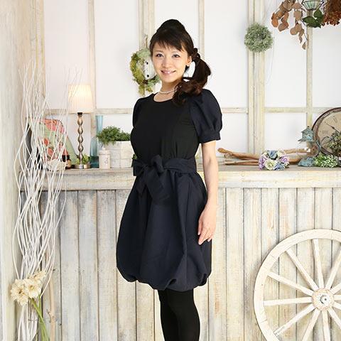 ソフィエのオリジナル授乳服 袖付バルーンワンピース ネイビー